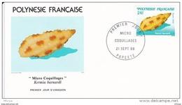 L4O216 POLYNESIE FRANCAISE 1988 Micro Coquillages FDC Kermia Barnabi 24f Papeete 21 09 1988 / Envel.  Illus. - Coquillages