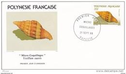 L4O217 POLYNESIE FRANCAISE 1988 Micro Coquillages FDC Vexillium Suavis 35f Papeete 21 09 1988 / Envel.  Illus. - Coquillages