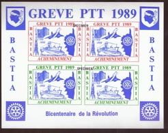 Timbres De Greve Surcharge Specimen PTT 1989 Bastia Bloc Feuillet  N°1781 Bateau Fusée Concorde Ile Corse - Huelga