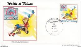 L4P058 WALLIS ET FUTUNA 1987 Sports FDC Championnat Du Monde Lutte 97f Mata-Utu 26 05 1987/envel.  Illus. - Lutte