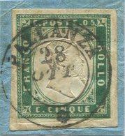 1857- SARDEGNA- 5 C. Verde Scuro-USATO E CERTIFICATO- LUXE ! - Sardaigne