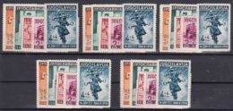 Yugoslavia Kingdom 1940 Postal Workers Mi#408-412 Five Sets, MNG - 1931-1941 Kingdom Of Yugoslavia
