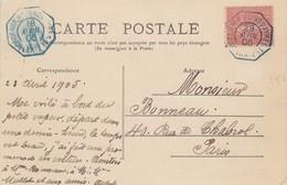 CARTE BORDEAUX. 28 AVRIL 1905.  BORDEAUX A BUENOS-AIRES 1° LIN N° 2 / 2 - Poststempel (Briefe)