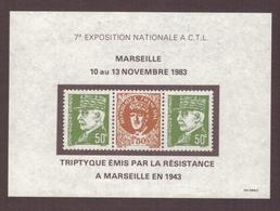 Bloc 7ème Expo Nationale ACTL Marseille 1983 Fac Simile Du Triptyque émis Par La Résistance à Marseille En 1943 - Autres