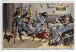 ILLUSTRATEUR Arthur THIELE  T.S.N Série 1175 - Chiens Humanisés Chasseur Et Son Lièvre Retour Au Foyer Famille D19 2019 - Thiele, Arthur