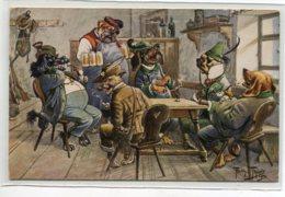 ILLUSTRATEUR Arthur THIELE  T.S.N Série 1175 - Chiens Humanisés Chasseurs à L'Auberge  Aubergiste Bieres      D19 2019 - Thiele, Arthur
