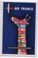 PUBLICITE AIR FRANCE Tirage 1958  La Girafe  Illustrateur SAVIGNAC Le Plus Long Réseau Du Monde    D19 2019 - Werbepostkarten