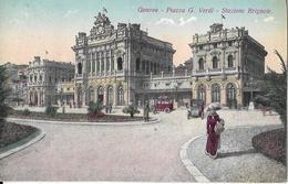 7-GENOVA-PIAZZA G.VERDI-STAZIONE BRIGNOLE(CARD ILLUSTRATA) - Stazioni Senza Treni