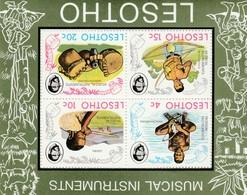 Lesotho, 1975, Musical Instruments, Miniature Sheet MNH ** - Lesotho (1966-...)