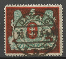 Danzig 1921  Mi.Nr.:87 X Coat Of Arms 5 Mark Signed BPP  Cancelled O - Danzig