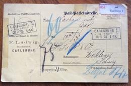 GERMANY POST-PACKETADRESSE FROM CARLSRUHE  21/2/76  TO WOHLEN - SUISSE - Deutschland