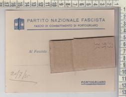 PORTOGRUARO VENEZIA PARTITO NAZIONALE FASCISTA FASCIO DI COMBATTIMENTO 1935 - Venezia (Venice)