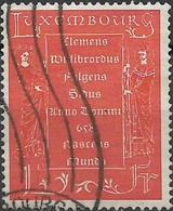 LUXEMBOURG 1958 1300th Birth Anniversary Of St Willibrord - 1f. St Willibrord And St Irmina Holding Inscribed Plaque FU - Usati