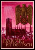 D1830 - Alte Postkarte - Werbekarte Propaganda Danzig Ganzsache WHW - Gottfried Klein - TOP - Pommern