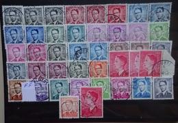 BELGIE  1958     Nr. 1066 - 1075   Boudewijn  / Kleurnuances En FF   Zie Foto  Gestempeld   CW 64,00 - 1953-1972 Lunettes