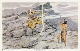 Artist C. Russell , The Medicine Man , 1950s - Indiani Dell'America Del Nord
