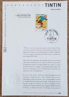 FDC Sur Document - YT N°3303 - FETE DU TIMBRE / TINTIN - 2000 - 2000-2009