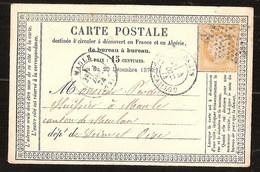 France Précurseur CP YT 55 Cachet Type 18 Paris Rue Du Cler Gros-caillou Pour Maule 4/12/1874 - 1871-1875 Ceres