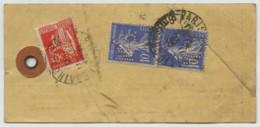 Paire Semeuse N° 270 + Paix N° 283 Perforés MS / étiquette De Colis 1935 Office Commercial Pharmaceutique . Pharmacie . - France