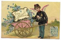 VOEUX SINCERES Carte Fantaisie Gaufrée...Ange-Facteur, Charrette De Fleurs... 1906 - Nouvel An