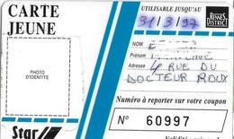 TICKET BILLET TRANSPORT AUTOBUS CARTE JEUNE AGGLOMÉRATION RENNES 35 ILLE ET VILAINE - Titres De Transport
