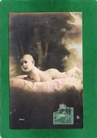 Bébé Nu Couché Sur Le Ventre CPA Carte Photo Sépia  écrite  Voir Scannes Recto Verso - Portraits