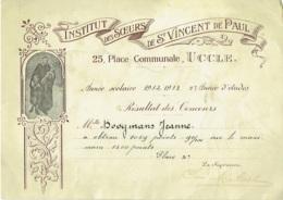 Diplôme. Uccle . Institut Des Soeurs De St.Vincent De Paul. 1932-33. - Diplômes & Bulletins Scolaires