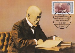 Germany 1982 Maximum Card: Health MEdicine; Medizin; Robert Koch; Tuberculose Fight; Nobel Prize 1905 - Médecine