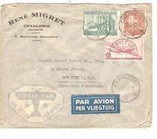 REF198/ TPA 9 - TP 772-434A Poortman S/L.Avion René Migret C.Charleroi 18/9/1950 > USA N.Y. - Marcophilie