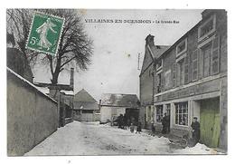 21 Dép .-  Villaines-en -Duesmois.- La Grande-Rue. Edit. Nicolle. Carte Postale Ayant Voyagé En 1909, Dos Séparé,trace - Autres Communes