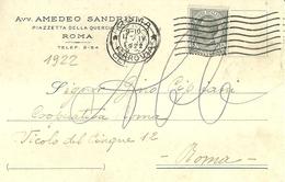 "6299 ""AVV. AMEDEO SANDRINI-ROMA""CART. POST. ORIG. SPEDITA 1922 - Mercanti"