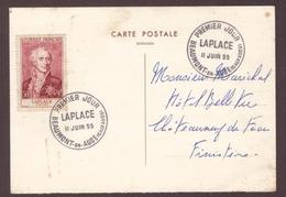 France 11 Juin 1955 Beaumont En Auge Cachet Premier Jour Laplace + Timbre , Cote 20€ - 1950-1959