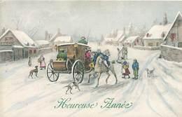 Bonne Année Paysage Attelage Chien   H 1106 - Nouvel An