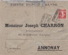 10c Semeuse S / Env  T.P. Ob Chambre De Commerce 15 Mai 1909 Le Havre Pour Annonay ( Grève ) - 1906-38 Semeuse Camée