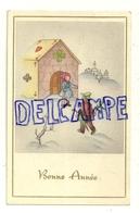 Bonne Année. Enfants Dans La Neige. Maison En Cartes à Jouer. Parapluie, Houx. 1949 - Nieuwjaar