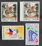 FRANCE - 1995 - YT 2946 à 2948 ** + 2946a ** - CROIX ROUGE / SECOURS POPULAIRE / ESPACE ET GUYANE - Frankreich