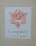 Ex-libris Illustré Fin XIXème - MAURICE TRIPET & JULES COLIN - Neuchatel Institut Héraldique - Ex Libris