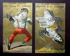 2 CHROMOS....CHICOREE ARLATTE .....GRENOUILLES...MON PREMIER DUEL....MA PREMIÈRE NOTE...PISTOLET - Cromos