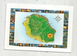 Cp , LA REUNION , Carte Géographique ,voyagée - Unclassified
