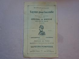GEO Dépliant Manufacture Tuyaux Pour Incendie Dredval Et Binoche Paris Fournitures Pour Sapeurs Pompiers 1898 - Feuerwehr
