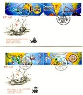 2 FDC De Palau De 1992 Christopher Columbus Discovery América Colon Colomb Colombo - Palau