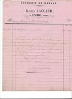 F143  - Facture Fonderie Jules Jaccard Ste-Croix Pour Wüthrich Vuiteboeuf Janvier 1874 - Switzerland