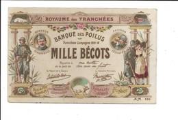 """""""Billet De Mille Bécots, Banque Des Poilus"""". (Militaria, Banque, Cochon) - Guerre 1914-18"""