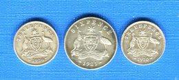 Australie  3  Pieces  Arg - Monnaie Pré-décimale (1910-1965)