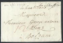 "L 1789 VERVIER En Rge (non Renseigné) + ""12"" + ""fco Schafssen"" + ""échantillons"" Pour Bolzano. RR - 1789-1790 (Brabant Revolution)"
