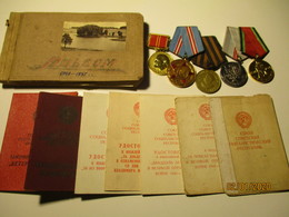 USSR RUSSIA WW II LOT OF RED ARMY LEUTENANT ZAKOVATSKI , MEDALS DOCUMENTS PHOTOS , 0 - 1939-45