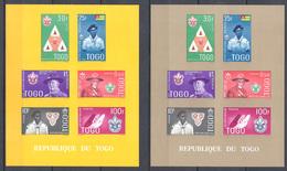 Togo - 1961 - 2 Blocs Feuillet BF N°Yv. 5y - Scoutisme - Fond Jaune Et Chamois - Neuf Luxe ** - Pfadfinder-Bewegung
