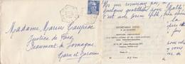 LETTRE. 1954. RARE POSTE AUTOMOBILE RURALE. LOT ASSIER C.P. N° 5. DE REYREVIGNES POUR BEAUMONT          / 2 - 1921-1960: Moderne