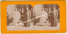STEREOSCOPIC / IMAGE STEREO 1903-04 PIE X ENTOURE AU VATICAN / PIO X IN VATICANO - Stereoscopio