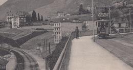 OUDE  POSTKAART ZWITSERLAND - SCHWEIZ - SUISSE -  VEYTAUX - TRAM - HOTEL  1912 - VD Waadt